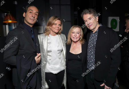 Composer Alexandre Desplat and wife with Fox Searchlight President Nancy Utley and Composer Carter Burwell