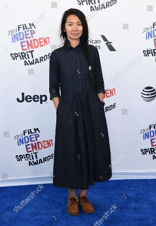 Chloe Zhao arrives at the 33rd Film Independent Spirit Awards, in Santa Monica, Calif