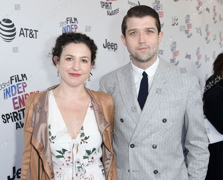 Stock Picture of Kate Barker-Froyland, Thomas Jeppesen Froyland. Kate Barker-Froyland, left, and Thomas Jeppesen Froyland arrive at the 33rd Film Independent Spirit Awards, in Santa Monica, Calif