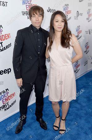 Stock Image of Sean Baker, Samantha Quan. Sean Baker, left, and Samantha Quan arrive at the 33rd Film Independent Spirit Awards, in Santa Monica, Calif