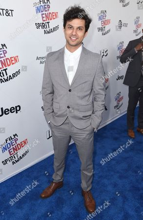 Stock Image of Amman Abbasi arrives at the 33rd Film Independent Spirit Awards, in Santa Monica, Calif