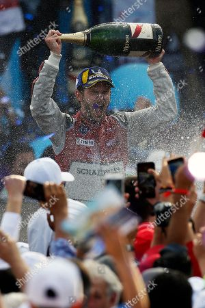 Audi Sport ABT Schaeffler driver Daniel Abt celebrates his victory in the Formula E Mexico City ePrix auto race, in Mexico City