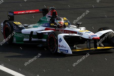 Audi Sport ABT Schaeffler driver Daniel Abt steers his car in the Formula E Mexico City ePrix auto race