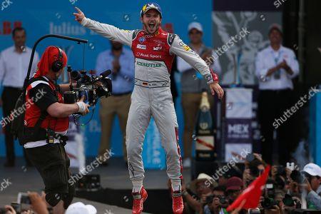 Audi Sport ABT Schaeffler driver Daniel Abt celebrates his victory in the Formula E Mexico City ePrix auto race