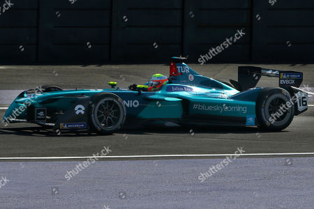 Nio driver Oliver Turvey in his car at the Formula E Mexico City ePrix auto race, . Turvey placed second