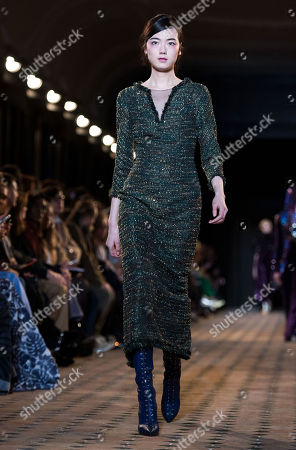 A model presents a creation from the Fall/ Winter 2018/2019 Women Ready to Wear collection by US designer Johnny Talbot and German designer Adrian Runhof for their label Talbot Runhof during the Paris Fashion Week, in Paris, France, 03 March 2018. The presentation of the Women's collections runs from 26 February to 06 March.