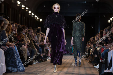 Models present creations from the Fall/ Winter 2018/2019 Women Ready to Wear collection by US designer Johnny Talbot and German designer Adrian Runhof for their label Talbot Runhof during the Paris Fashion Week, in Paris, France, 03 March 2018. The presentation of the Women's collections runs from 26 February to 06 March.