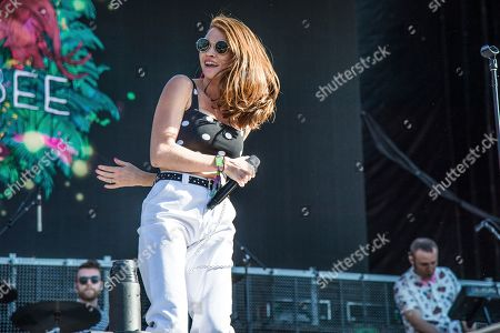 Mandy Lee of MisterWives performs at the Okeechobee Music and Arts Festival, in Okeechobee, Fla