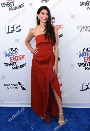 Eva De Dominici arrives at the 33rd Film Independent Spirit Awards, in Santa Monica, Calif