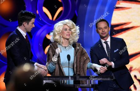 Kriste Wiig, John Mulaney, Nick Kroll. Kristen Wiig, center, portraying Fay Fontaine during a comedy skit with Hosts John Mulaney, left, and Nick Kroll, right, at the 33rd Film Independent Spirit Awards, in Santa Monica, Calif