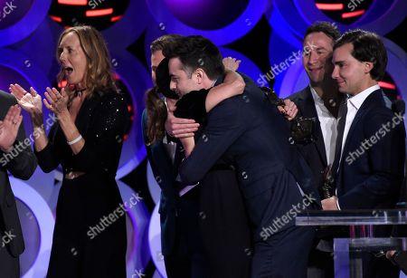 "Matt Spicer, Aubrey Plaza. Matt Spicer, left, embraces Aubrey Plaza after ""Ingrid Goes West"" wins the award for best first feature at the 33rd Film Independent Spirit Awards, in Santa Monica, Calif"