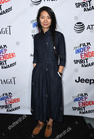 Chloe Zhao, winner of the Bonnie award, poses in the press room at the 33rd Film Independent Spirit Awards, in Santa Monica, Calif