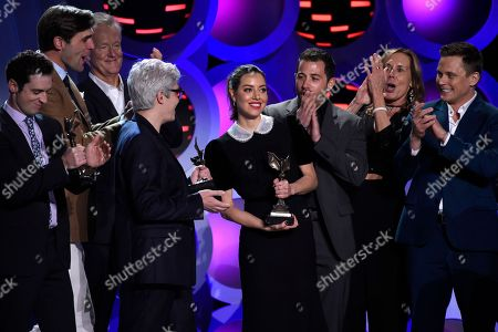 "Stock Photo of Tim White, David Branson Smith, Rick Rickertsen, Jared Ian Goldman, Aubrey Plaza, Allan Mandelbaum, Mary Solomon, Billy Magnussen. Tim White, from left, David Branson Smith, Rick Rickertsen, Jared Ian Goldman, Aubrey Plaza, Allan Mandelbaum, Mary Solomon, and Billy Magnussen accept the award for best first feature for ""Ingrid Goes West"" at the 33rd Film Independent Spirit Awards, in Santa Monica, Calif"