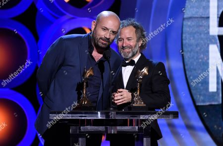 "Antonio Mendez Esparza, Pedro Hernandez Santos. Antonio Mendez Esparza, left, and Pedro Hernandez Santos accept the John Cassavetes award for ""Life and Nothing More"" at the 33rd Film Independent Spirit Awards, in Santa Monica, Calif"