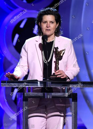 """Tatiana S. Riegel accepts the award for best editing for """"I, Tonya"""" at the 33rd Film Independent Spirit Awards, in Santa Monica, Calif"""