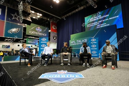 Scott Hanson, Josh McCowen, Chad Pennington, Teddy Bridgewater. Host Scott Hanson, left, speaks with Josh McCowen, center left, quarterback with the New York Jets, Chad Pennington, center right, former NFL quarterback, Jacoby Brissett, quarterback with the Indianapolis Colts, and Teddy Bridgewater, quarterback with the Minnesota Vikings appear on the NFL Talks Combine Edition live on Sirus XM NFL Radio at the NFL football scouting combine, in Indianapolis