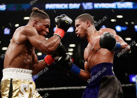 Patrick Day, Kyrone Davis. Patrick Day, right, fights Kyrone Davis during the eighth round of a WBC super welterweight championship boxing match, in New York. Day won the fight
