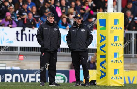 Exeter Chiefs Director of Rugby, Rob Baxter and Exeter Chiefs Assistant Coach, Robin Hunter during the Aviva Premiership match between Exeter Chiefs and Saracens at Sandy Park on March 4th 2018, Exeter, Devon (