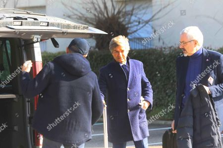 ACF Fiorentina's manager Giancarlo Antognoni (C) outside the hotel where Fiorentina's captain Davide Astori deceased in Udine, Italy, 04 March 2018. The 31-year-old Fiorentina player Astori was found dead in a hotel room ahead of his team's Italian Serie A match against Udinese.