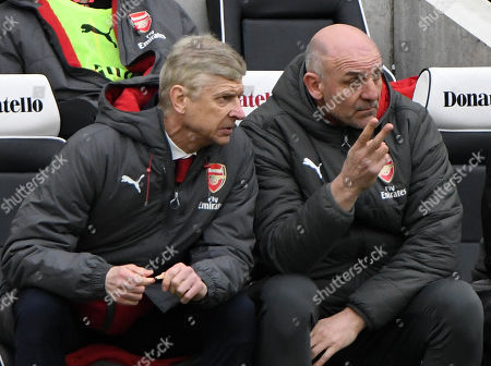 Arsene Wenger Arsenal manager and  Steve Bould watching their team loose 2-1 at Brighton.