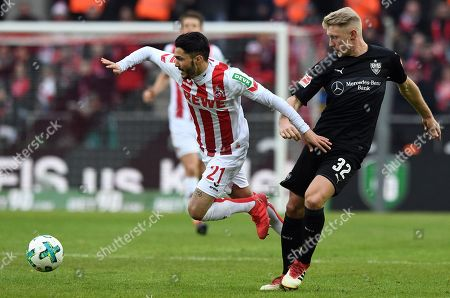 Cologne's Leonardo Bittencourt (L) and Stuttgart's Andreas Beck in action during the German Bundesliga soccer match between FC Cologne and VFB Stuttgart in Cologne, Germany, 04 March 2018.