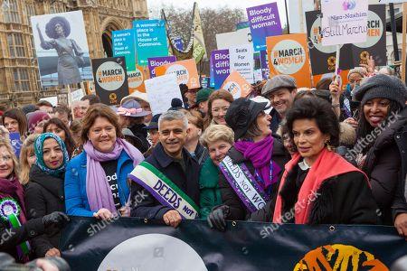 Maria Miller MP, Sadiq Khan, Sandi Toksvig, Bianca Jagger lead the march