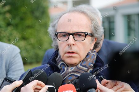 ACF Fiorentina's honorary President Andrea Della Valle talks to journalists outside the Artemio Franchi stadium in Florence, Italy, 04 March 2018, after the death of Fiorentina's captain Davide Astori. The 31-year-old Fiorentina player Astori was found dead in a hotel room ahead of his team's Italian Serie A match against Udinese.