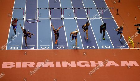 Cuba's Roger Iribarne, United States' Jarret Eaton, France's Aurel Manga, Britain's Andrew Pozzi, France's Pascal Martinot-Lagarde, Brazil's Gabriel Constantino and United States' Aries Merritt, from left, compete in the men's 60-meter hurdles final at the World Athletics Indoor Championships in Birmingham, Britain