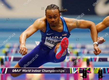 Stock Picture of United States' Aries Merritt competes in a men's 60-meter hurdles semifinal at the World Athletics Indoor Championships in Birmingham, Britain