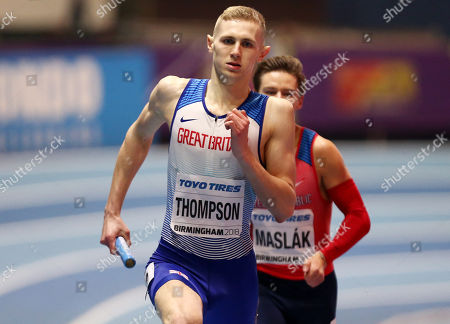 Lee Thompson of Great Britain during the Mens 4 x 400m Hurdles final.