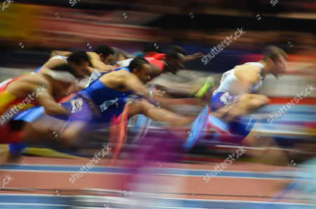 Stock Photo of Andrew Pozzi of Great Britain and Aries Merritt of United States at 60 meters hurdles at World indoor Athletics Championship 2018, Birmingham, England