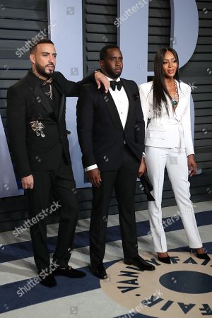 Stock Image of French Montana, Sean Combs and Naomi Campbell