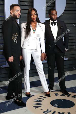 Stock Picture of French Montana, Sean Combs and Naomi Campbell