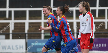 GOAL 2-1, Sarah Jones of Crystal Palace ladies goal celebration with Ria Collins of Crystal Palace Ladies after bundling the ball over the line in a goal mouth scramble to put Crystal Palace Ladies 2-1 ahead during The Women's Premier League South match between Crystal Palace Ladies and Swindon Town Ladies, 4th March 2018 at Hayes Lane Stadium, Bromley.