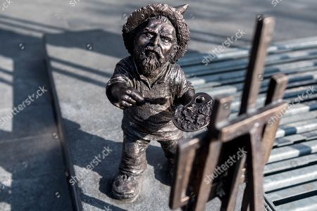 A new dwarf in Wroclaw, Poland, 04 March 2018. The dwarf's name is Vincent and was created to commemorate the involvement of the city and Wroclaw institutions in the creation of the Oscar-nominated movie 'Loving Vincent', an animated biographical drama film about the life of Dutch artist Vincent van Gogh (1853-1890), by Dorota Kobieli and Hugh Welchman. The Vincent dwarf sculpture is by Polish artist Beata Zwolanska-Holod. Since 2005, small dwarf figurines have been placed in the streets of Wroclaw, in tribute of historic figures and events, among others.
