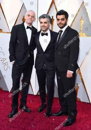 Stock Photo of Soren Steen Jespersen, Feras Fayyad, Kareem Abeed. Soren Steen Jespersen, from left, Feras Fayyad, and Kareem Abeed arrives at the Oscars, at the Dolby Theatre in Los Angeles