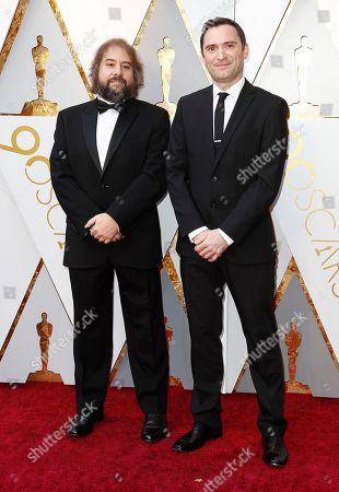 Paul Machliss (L) and Jonathan Amos (R) arrive for the 90th annual Academy Awards ceremony at the Dolby Theatre in Hollywood, California, USA, 04 March 2018. The Oscars are presented for outstanding individual or collective efforts in 24 categories in filmmaking.