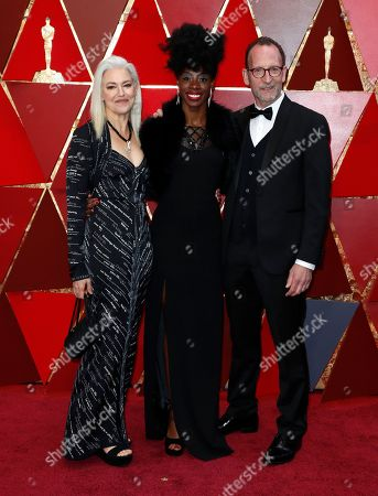 Kate Davis (L), Breaion King (C), and David Heilbroner (R)  arrive for the 90th annual Academy Awards ceremony at the Dolby Theatre in Hollywood, California, USA, 04 March 2018. The Oscars are presented for outstanding individual or collective efforts in 24 categories in filmmaking.
