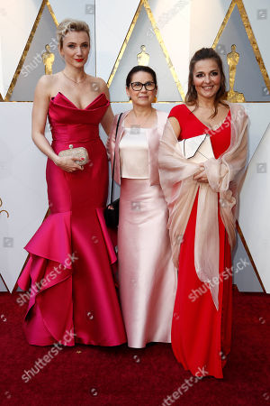 (L-R) Alexandra Borbely, Ildiko Enyedi, and Monika Mecs arrive for the 90th annual Academy Awards ceremony at the Dolby Theatre in Hollywood, California, USA, 04 March 2018. The Oscars are presented for outstanding individual or collective efforts in 24 categories in filmmaking.