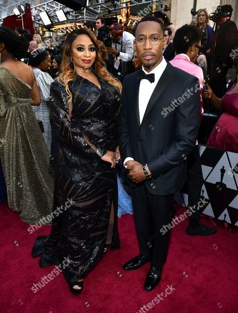 Stock Picture of Taura Stinson, Raphael Saadiq. Taura Stinson, left, and Raphael Saadiq arrive at the Oscars, at the Dolby Theatre in Los Angeles