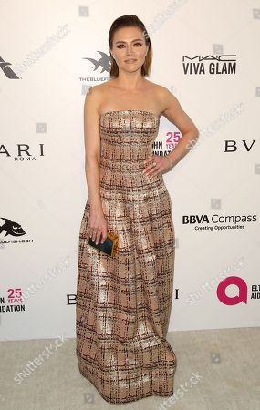 Trieste Kelly Dunn arrives at the 2018 Elton John AIDS Foundation Oscar Viewing Party, in West Hollywood, Calif