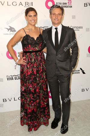 Anna Musky-Goldwyn, Tony Goldwyn. Anna Musky-Goldwyn, left, and Tony Goldwyn arrive at the 2018 Elton John AIDS Foundation Oscar Viewing Party, in West Hollywood, Calif