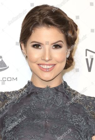Amanda Cerny arrives at the 2018 Elton John AIDS Foundation Oscar Viewing Party, in West Hollywood, Calif
