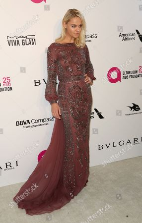 Viktoriya Sasonkina arrives at the 2018 Elton John AIDS Foundation Oscar Viewing Party, in West Hollywood, Calif