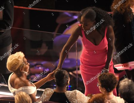 Viola Davis, Mary J. Blige. Mary J. Blige, left, greets Viola Davis in the audience at the Oscars, at the Dolby Theatre in Los Angeles