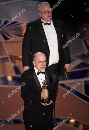 """Richard King, Alex Gibson. Richard King, left, and Alex Gibson accept the award for best sound editing for """"Dunkirk"""" at the Oscars, at the Dolby Theatre in Los Angeles"""
