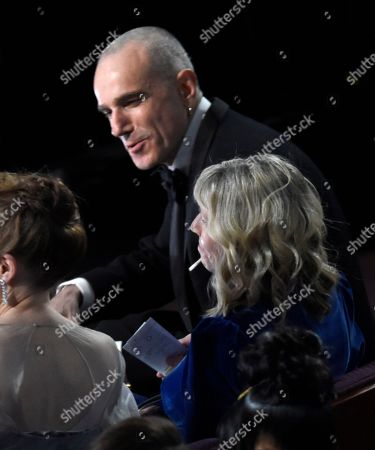 Daniel Day-Lewis appears in the audience at the Oscars, at the Dolby Theatre in Los Angeles