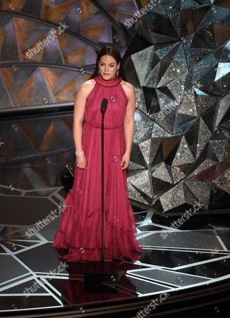 Daniela Vega introduces a performance by Sufjan Stevens at the Oscars, at the Dolby Theatre in Los Angeles