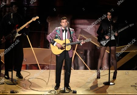 "Sufjan Stevens, St. Vincent, Moses Sumney. Moses Sumney, from left, Sufjan Stevens, and St. Vincent perform ""Mystery of Love"" from the film ""Call Me By Your Name"" at the Oscars, at the Dolby Theatre in Los Angeles"