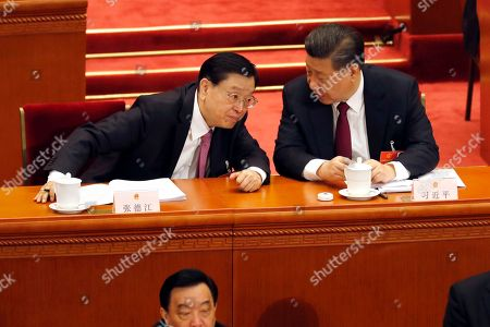 Zhang Dejiang, Xi Jinping. National People's Congress Chairman Zhang Dejiang, left, listens to Chinese President Xi Jinping during the opening session of the annual legislature in Beijing's Great Hall of the People